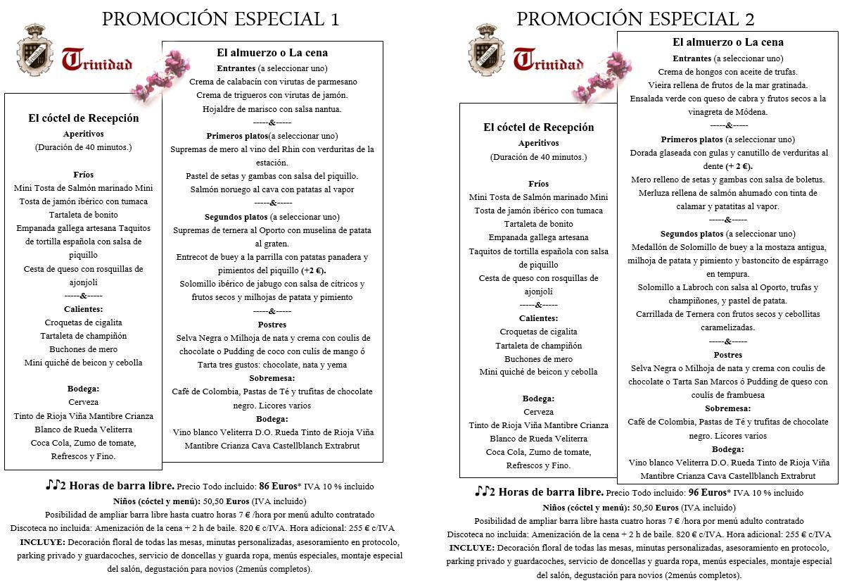 menus promociones